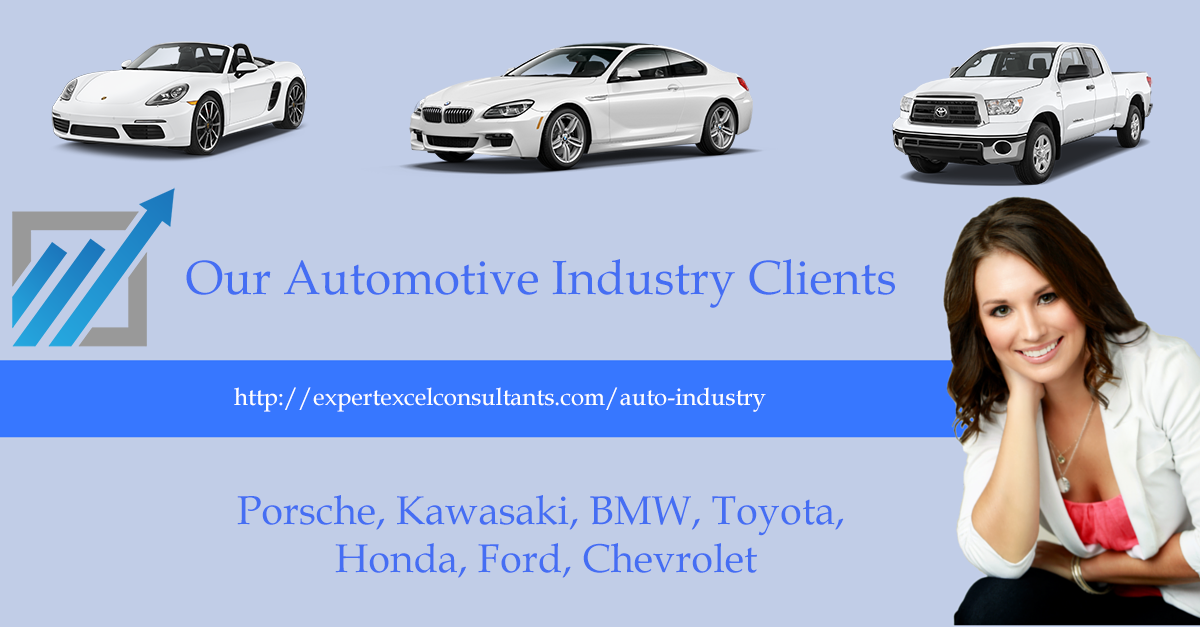 At expert Microsoft Excel consultants we work with almost all of the world's automobile makers