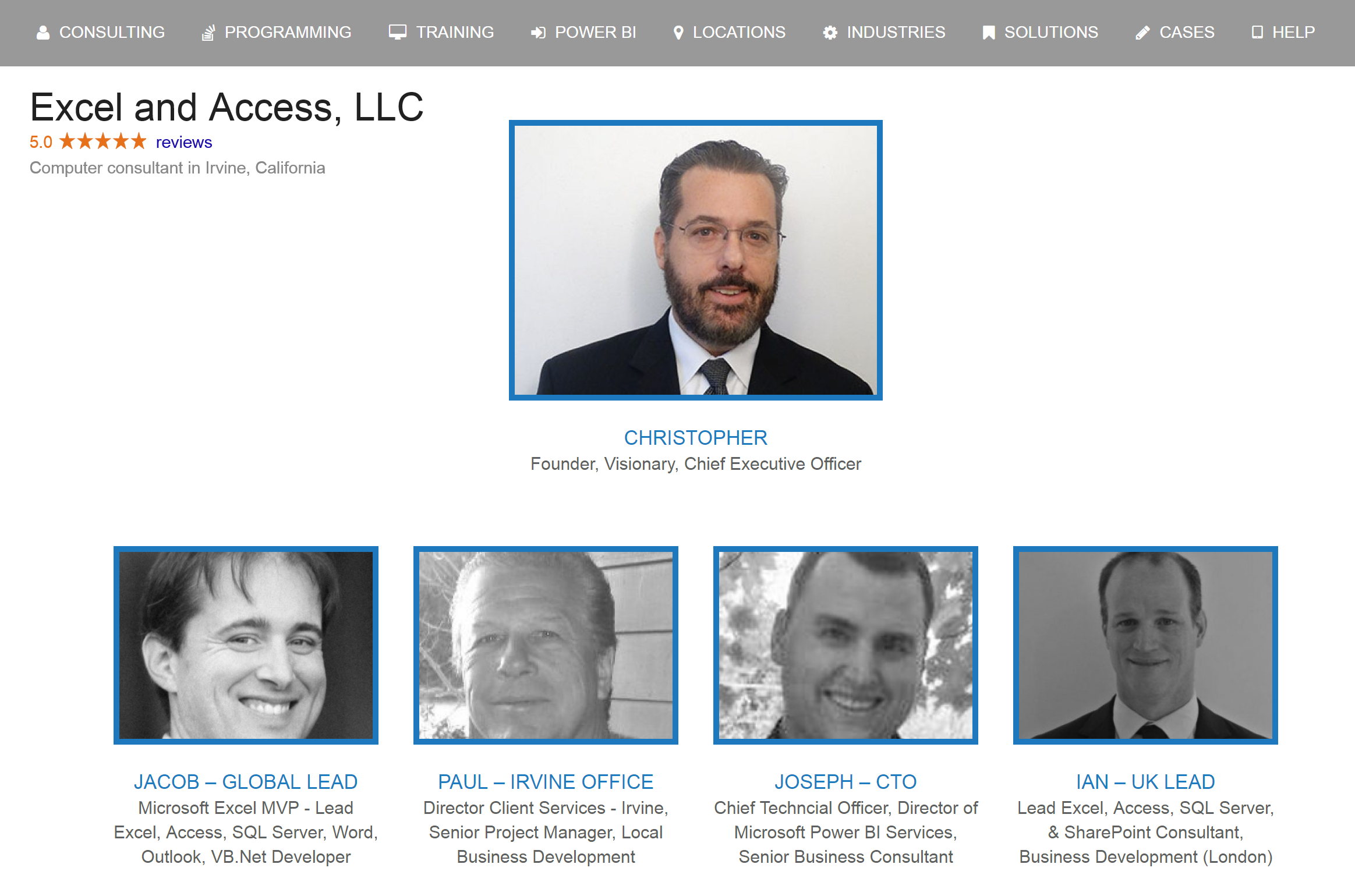 Meet the team of expert Excel consultants
